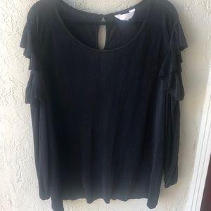 Lauren Conrad Size 2x Ribbed Cold Shoulder Blouse